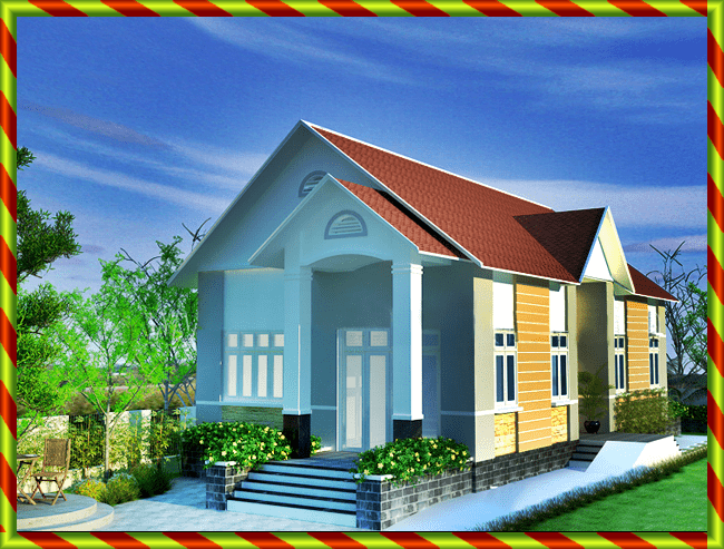 Phối cảnh 3D mẫu nhà 1 tầng cấp 4 nông thôn 8x16m mái thái đẹp phong cách hiện đại