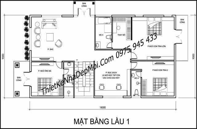 biet thu 3 tang kieu chau au 9x18 8895