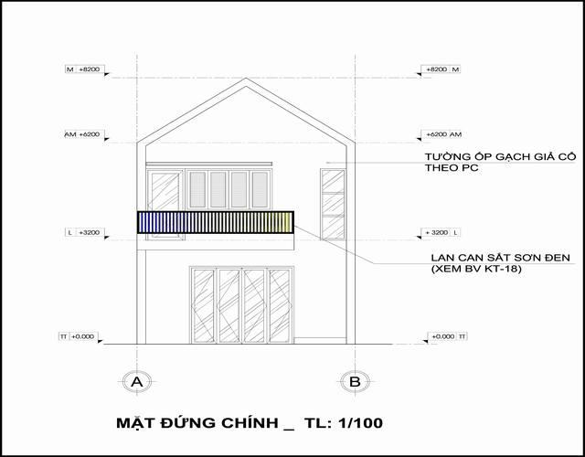 Bản vẽ trục đứng nhà gác lửng hiện đại 5x14
