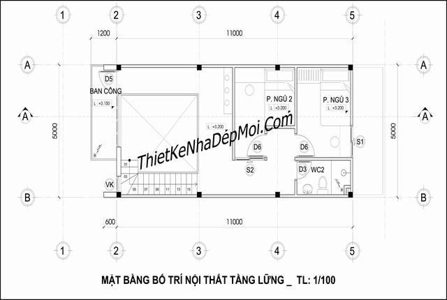 Mặt bằng lầu nhà gác lửng hiện đại chị Yến diện tích 5x14