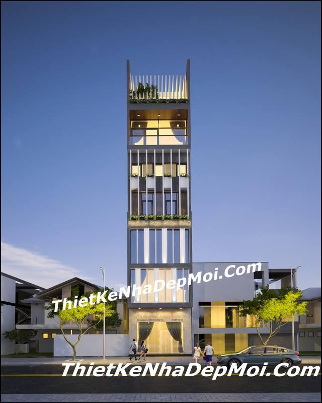 Mẫu khách sạn 7 tầng đẹp 5×20 tiêu chuẩn 2 sao