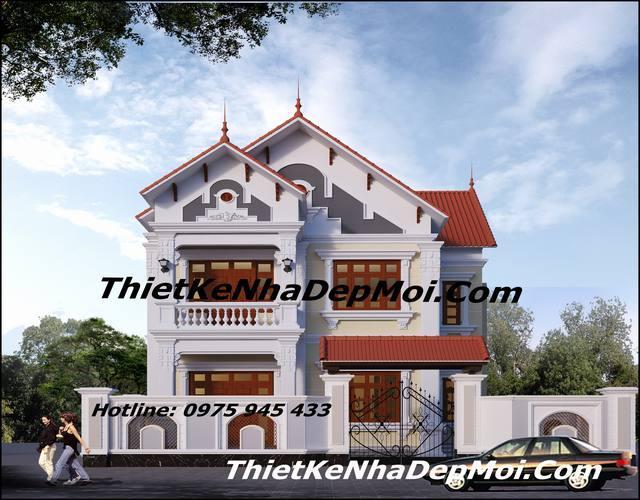 Mặt tiền nhà đẹp 2 tầng rộng 9m kiểu pháp anh Ninh Hà Nội