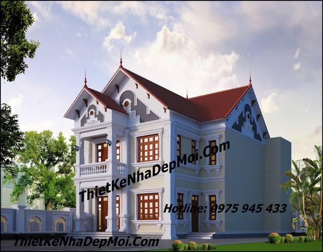 Mẫu nhà 2 tầng chữ l đẹp 9x15 4 phòng ngủ 1 phòng thờ mái ngói