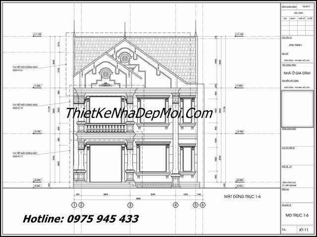 thiết kế nhà 2 tầng mái ngói trục đứng anh Ninh