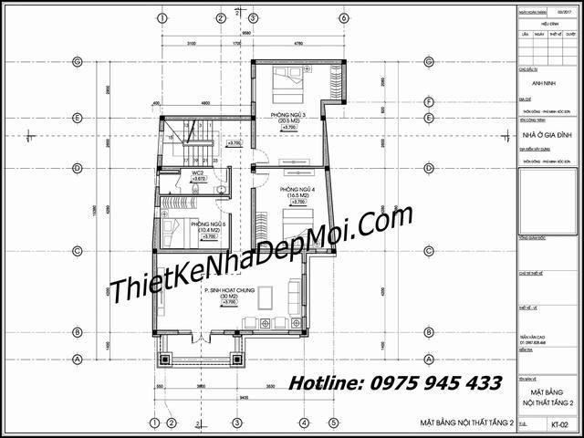 Mặt bằng tầng lầu mẫu nhà mái thái đẹp 2 tầng 9x15