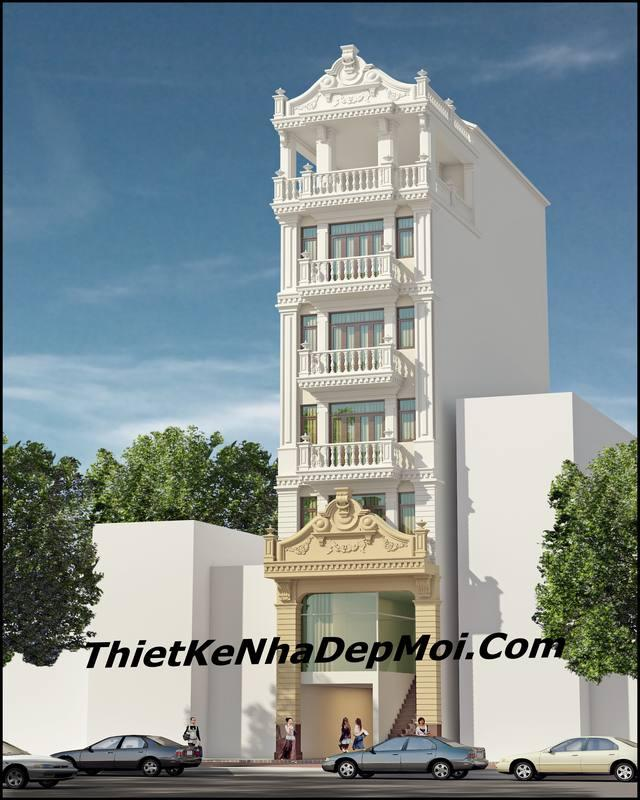 Mẫu nhà nghỉ mini 7 tầng đẹp thiết kế kiểu châu âu