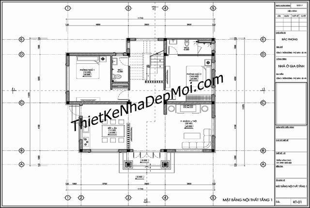 Bản vẽ thiết kế không gian tầng trệt nhà đẹp 2 tầng