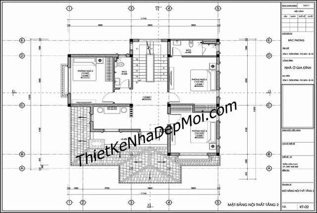 Mặt bằng bản vẽ thiết kế nhà 2 tầng autocad