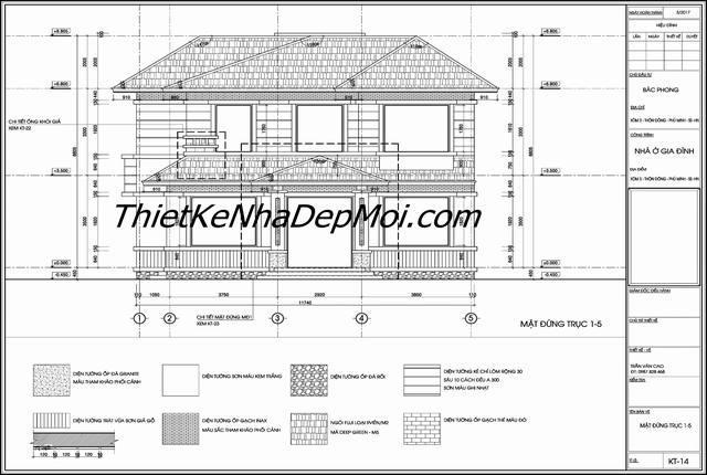 Bản ev4 autocad kỹ thuật xây nhà 2 tầng mái ngói cho trục đứng