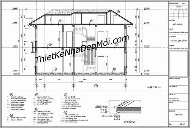 bản vẽ cad nhà 2 tầng cho mặt cắt