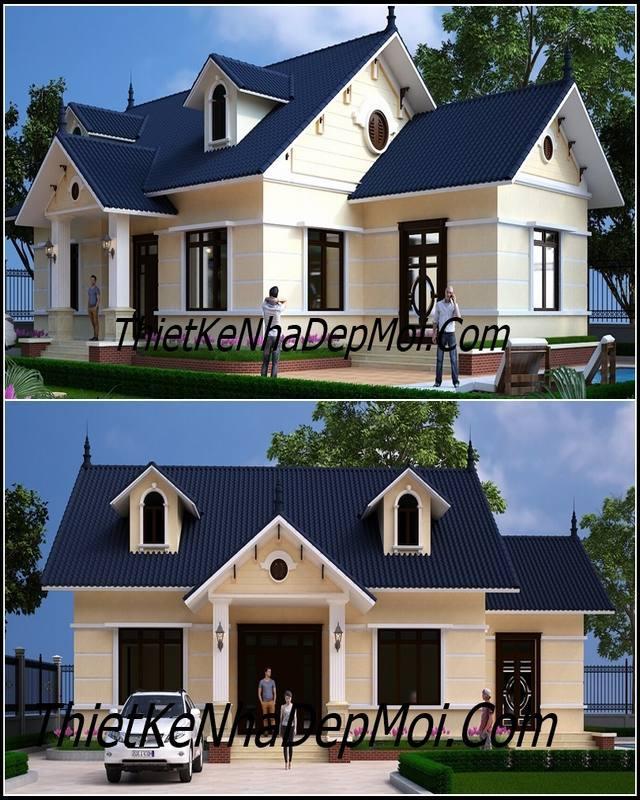 Mẫu nhà cấp 4 mái thái đẹp 3 phòng ngủ ở nông thôn