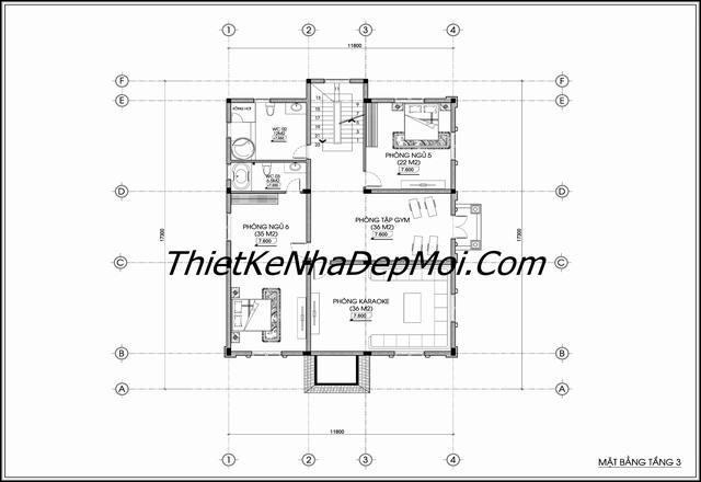 Kích thước không gian lâu đài tầng 3