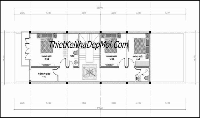 Mặt bằng tầng 2 nhà phố 1 trệt 2 lầu 5x20