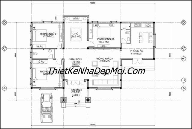 Bản vẽ thiết kế nhà cấp 4 3 phòng ngủ 1 phòng thờ rộng rãi 180m2