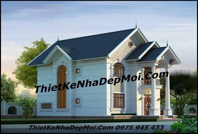 Mẫu nhà biệt thự 2 tầng mái ngói kiểu thái phong cách tân cổ điển