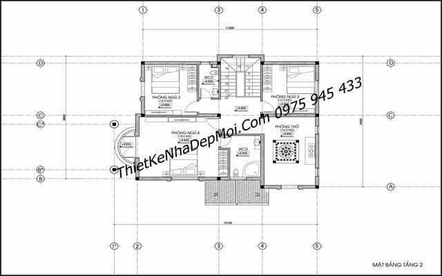 Kích thước không gian tầng lầu nhà đẹp 2 tầng