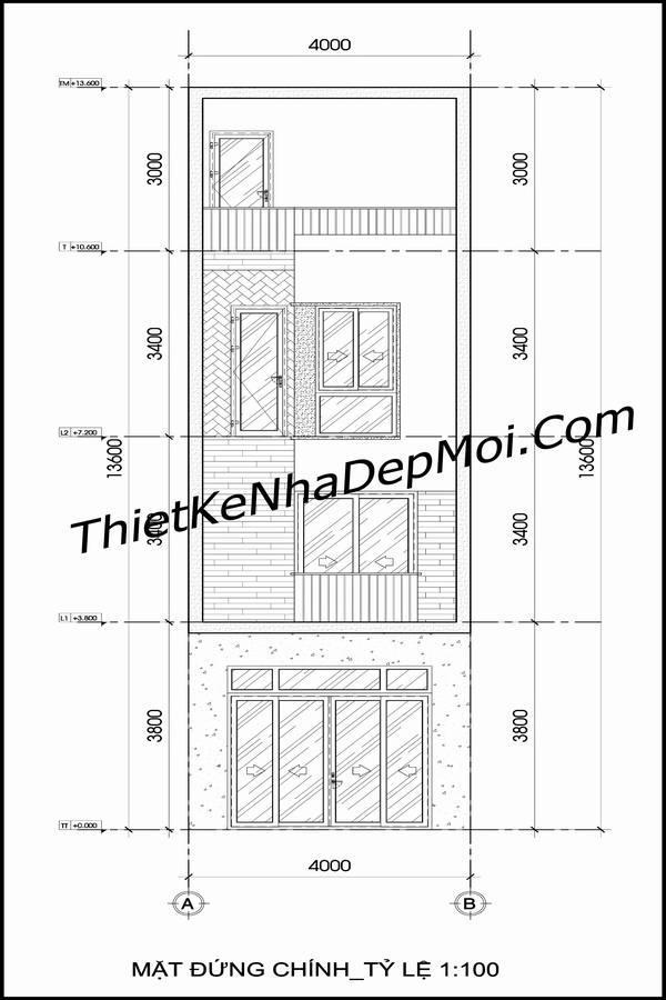 Bản vẽ thiết kế nhà ống diện tích nhỏ đẹp 4x10m lệch tầng