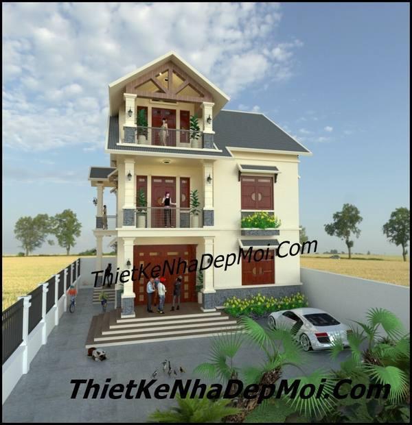 Hình ảnh biệt thự 3 tầng đơn giản mái thái hiện đại ở nông thôn