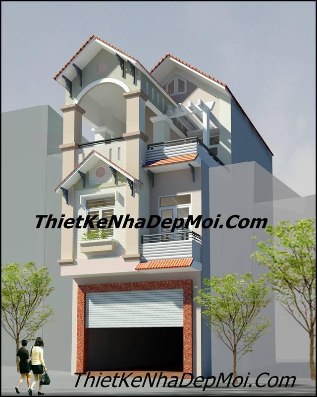 Mẫu thiết kế nhà 5×20 có gara 3 tầng đẹp
