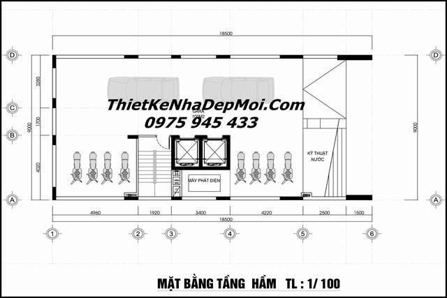Bản vẽ kích thước tầng hầm khách sạn