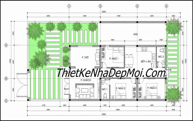 Mặt bằng nhà cấp 4 3 phòng ngủ mái thái đơn giản giá rẻ mà đẹp thoáng