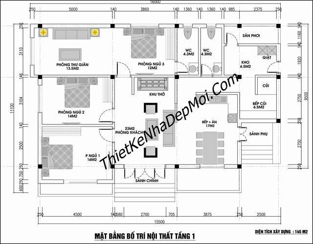 Mặt bằng nhà cấp 4 3 phòng ngủ 1 phòng thờ 2017