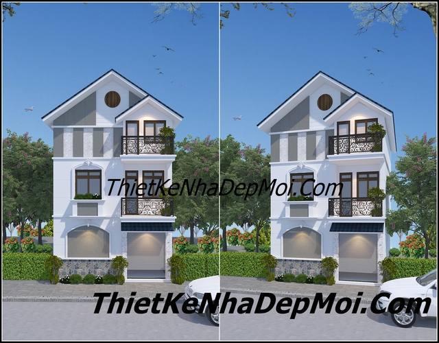 Hình ảnh ghép chung 2 phối cảnh kiến trúc nhà mặt tiền 7m đẹp 3 tầng đơn giản của mẹ con chị Huyền Sơn La