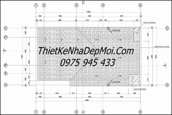 Bản vẽ kiến trúc mái nhà ống gác lửng 5m