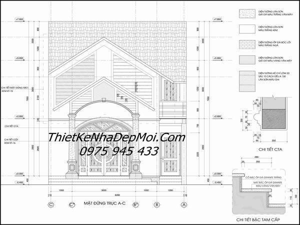 Bản vẽ nhà gác lửng mái thái