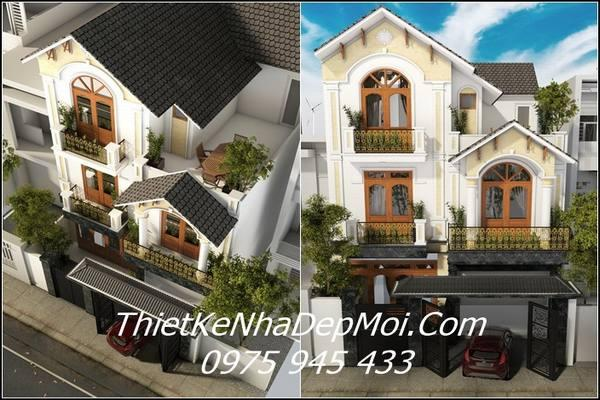 Mẫu nhà phố mặt tiền rộng 8m đẹp 3 tầng