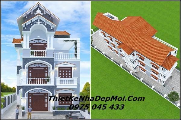 biệt thự 3 tầng mái thái kiểu pháp